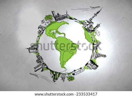Background image of hand sketched Earth planet - stock photo