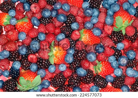 Background image of mixed berries - stock photo