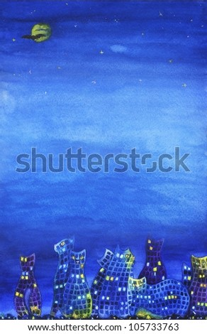 background image of night city with cats and plenty of light space for text - stock photo
