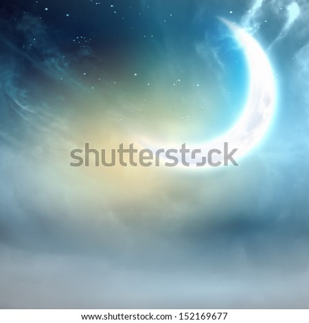 Background image of night sky with moon - stock photo