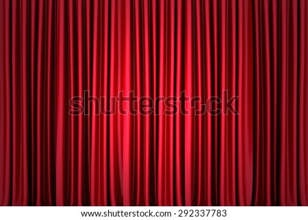 Background image of red silk stage curtain on theater - stock photo
