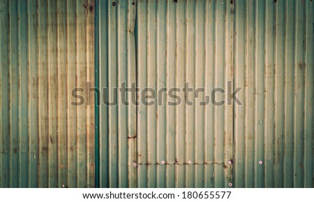 background image of rusty corrugated metal iron sheets - stock photo