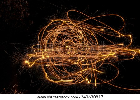 background image of shapes made at night with a sparkler  - stock photo