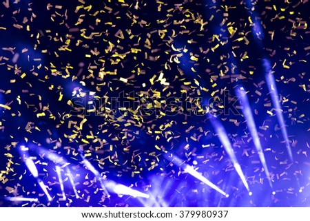 Background image of stage of concert in color lights with ribbon - stock photo