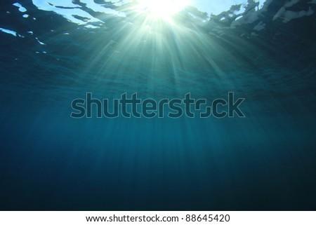 Background image of Sun Rays Underwater - stock photo