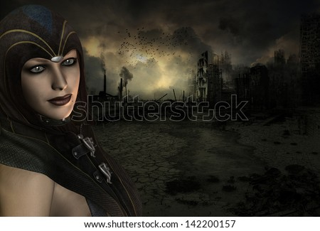Background image with a High Priestess in the end time scenario - stock photo