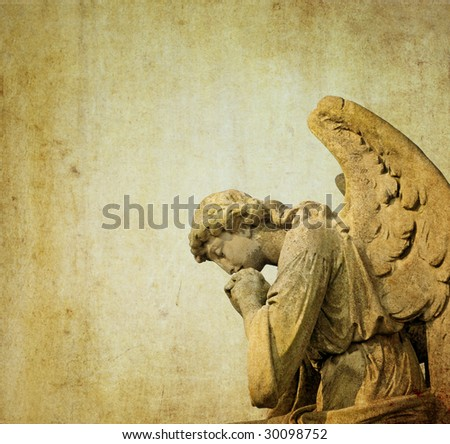 background image with cherub and interesting earthy texture. useful design element. - stock photo