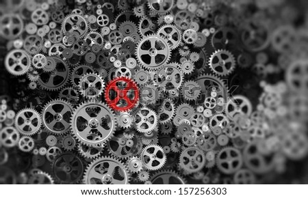 Background image with gears and cogwheels. Technologies and mechanism - stock photo