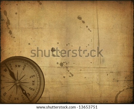 Background image with interesting old paper texture and compass - stock photo