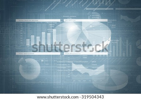 Background image with multi media graphs and diagrams  - stock photo