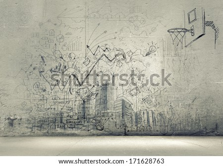 Background image with sketches and drawings on grey wall - stock photo