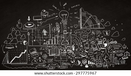Background image with sketches of plan and startegy - stock photo