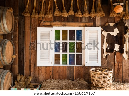 background interior design of an old country house, decorating the white window inside the room - stock photo