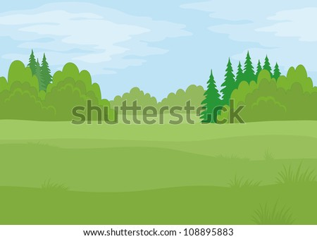 Background landscape, summer green forest and blue sky with clouds - stock photo