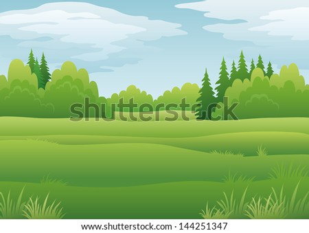 Background landscape, summer green forest and blue sky with clouds. - stock photo