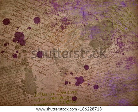 Background letter and text. Writer.Vintage  decoupage card. - stock photo