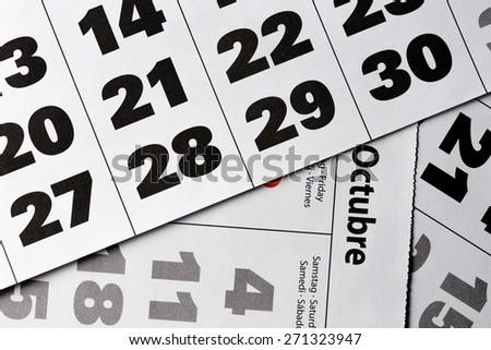 background made of calendar dates close up  - stock photo