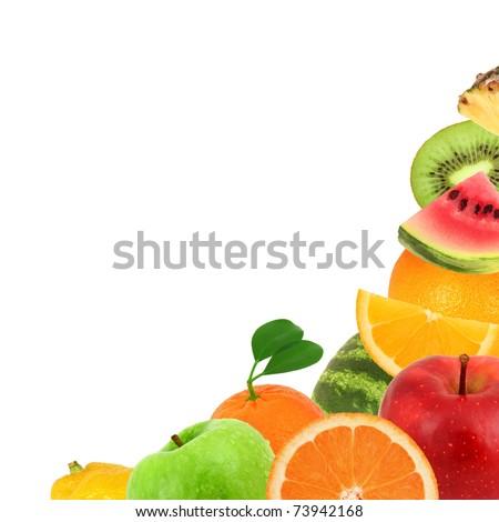 Background made of fruit isolated on white - stock photo