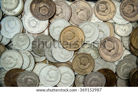Background made of old USSR coins - stock photo