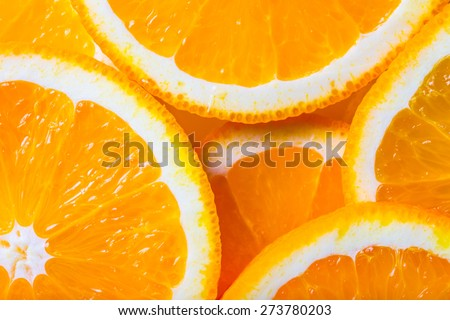 background made with a heap of sliced oranges - stock photo