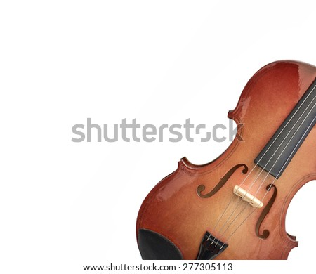background made with wood violin isolated over white - stock photo
