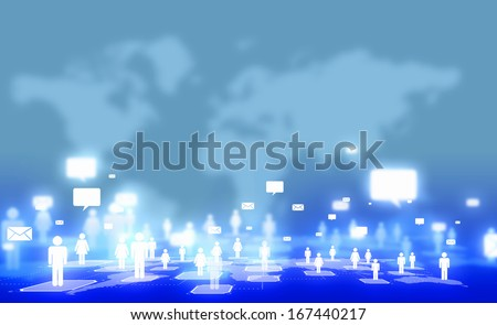 Background media image with icons. Social nets and communication - stock photo