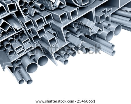 background metallic pipes, corners, types - stock photo