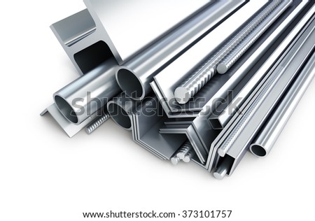 background metallic pipes, corners, types 3d Illustrations on a white background - stock photo