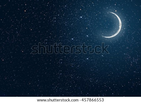 background night sky with stars and moon. Elements of this image furnished by NASA - stock photo