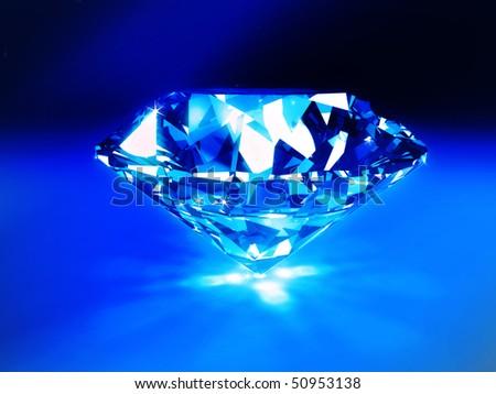 background of a blue diamond - stock photo