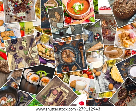 background of a food photos on a wooden table - stock photo