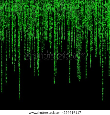 background of a green matrix of  binary figures  - stock photo