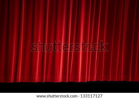 Background of a Red Curtain on a Stage - stock photo