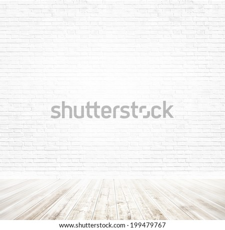Background of age grungy black, white texture of paint stucco brick and stone wall with dark wood floor in old modern and contemporary empty interior, blank color horizontal space of clean studio room - stock photo
