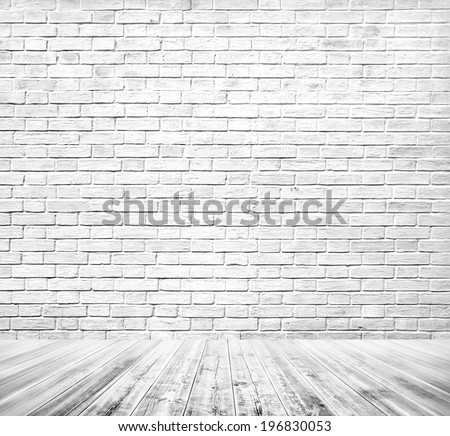 Background of age grungy texture white brick and stone wall with light wooden gray floor, whiteboard inside old modern and contemporary empty interior Blank color horizontal space of clean studio room - stock photo