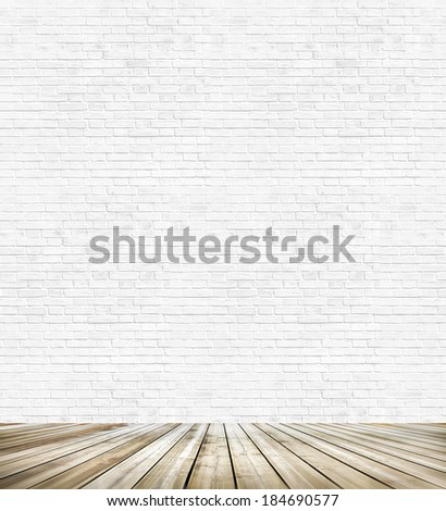 Background of age grungy white texture of paint stucco brick and stone wall with light wooden floor inside old modern and contemporary empty interior, blank color horizontal space of clean studio room - stock photo