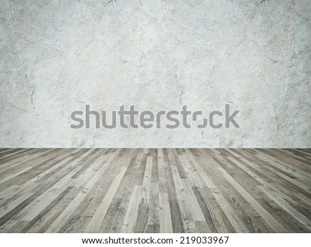 Background of age grungy white texture of paint stucco brick and stone wall with wooden floor - stock photo