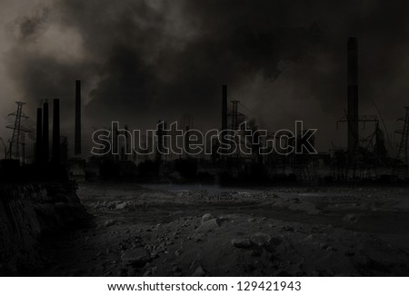 Background of an apocalyptic war scenario - stock photo