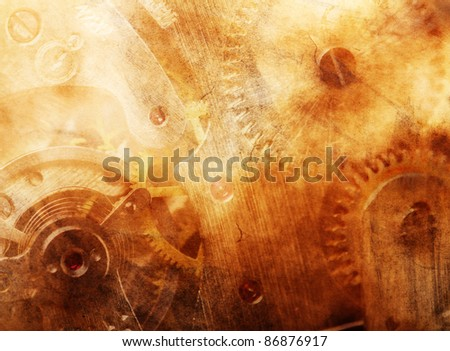 Background of ancient mechanism - stock photo