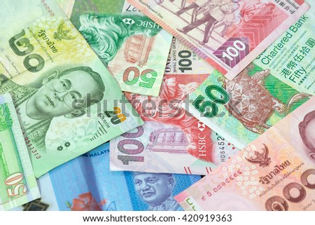 Background of Asian currency. - stock photo