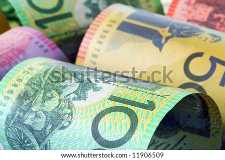 Background of Australian money, in close-up.  Soft-focus. - stock photo