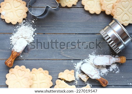 Background of baking gluten free shortbread cookies with utensils and ingredients,  viewed from above - stock photo