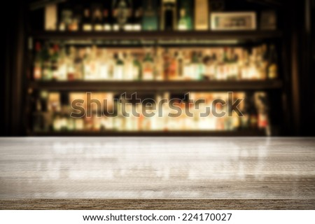 background of bar with free space for your glass of bottle  - stock photo