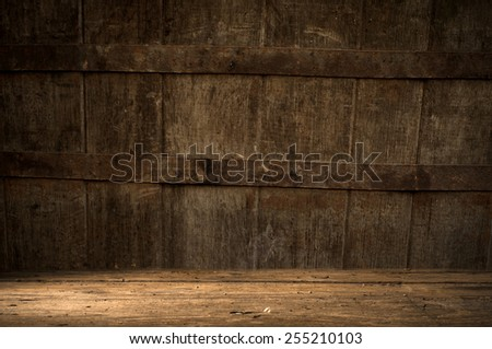 background of barrel and worn old table of wood - stock photo