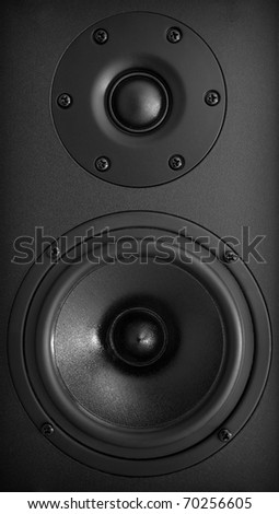 Background of black speaker with sphere - stock photo