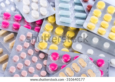 Background of blisters of pharmaceutical pills - stock photo