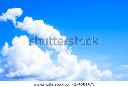 Background of blue sky and cloudy on sunshine day - stock photo