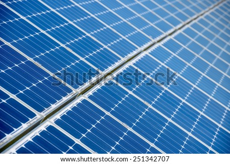 Background of Blue Solar Panels - stock photo