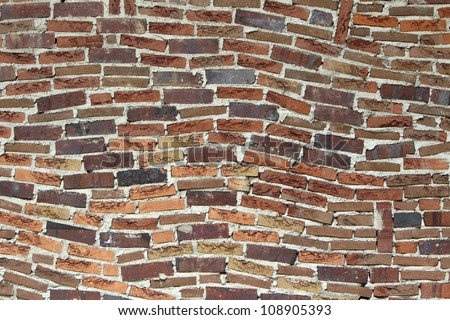 Background of brick wall texture on July 26, 2012 in Thessaloniki, Greece. - stock photo