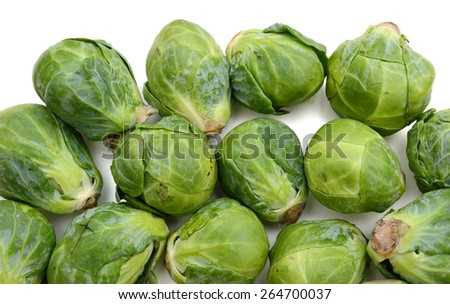 background of brussel sprouts isolated on white  - stock photo